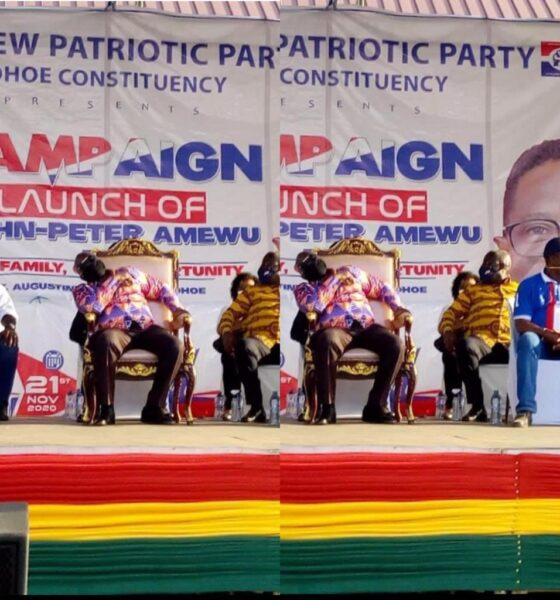 Photos: President Akufo-Addo Seen Sleeping At A Campaign Launch In Volta Region