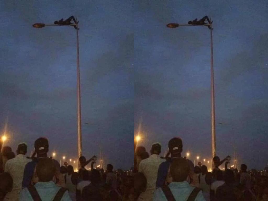 Photos: Thief Climbs And Relaxes On A Streetlight Pole To Avoid Beatings
